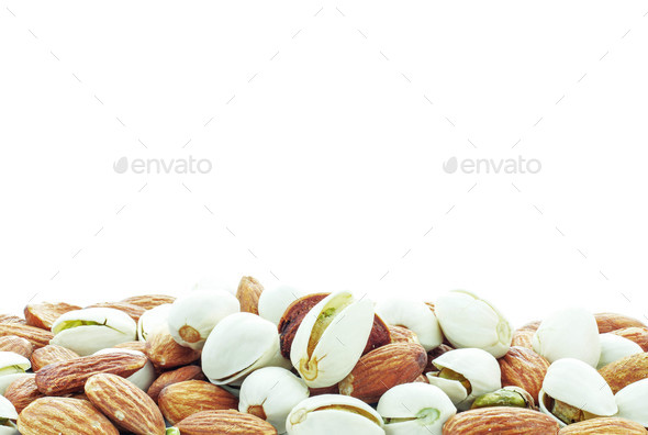 almonds on white background - Stock Photo - Images
