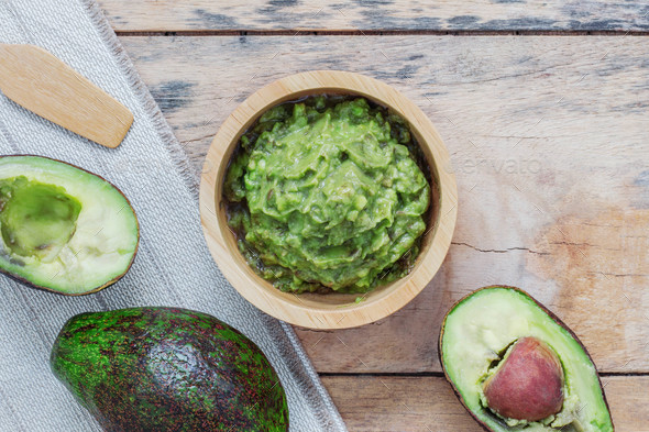 Avocado on wooden floor - Stock Photo - Images