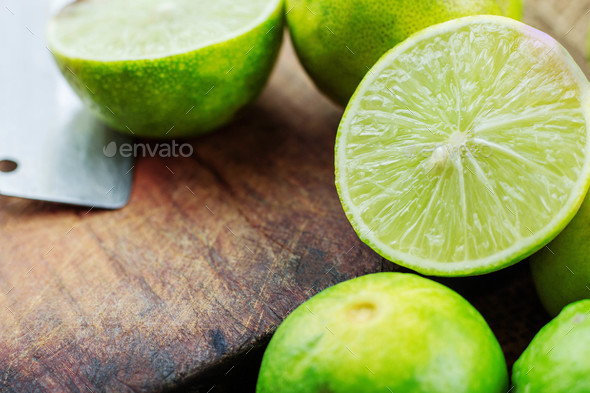 Lemon slice half on wooden - Stock Photo - Images
