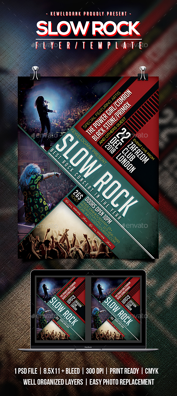 Slow Rock Flyer / Poster - Concerts Events