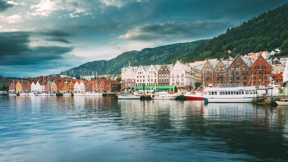 Bergen, Norway. View Of Historical Architecture, Buildings, Bryg - Stock Photo - Images