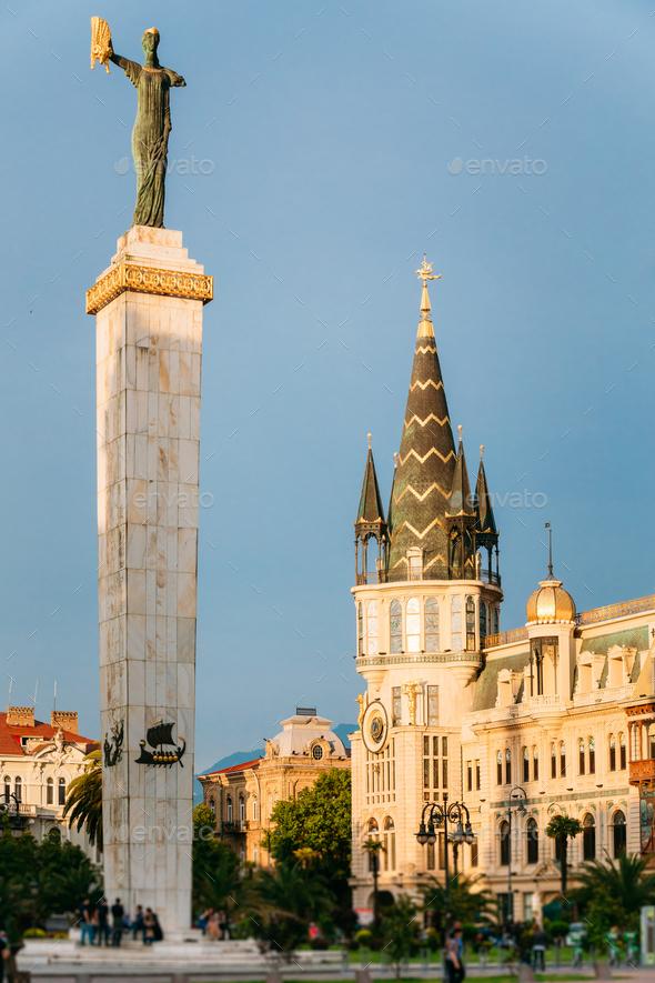 Batumi, Adjara, Georgia. Statue Of Medea On Blue Sky Background - Stock Photo - Images