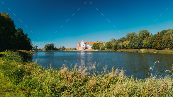 Mir Belarus. Panoramic View Of Mir Castle Complex Ancient Monume - Stock Photo - Images