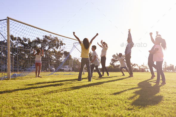 Families cheering scoring a goal during a football game - Stock Photo - Images