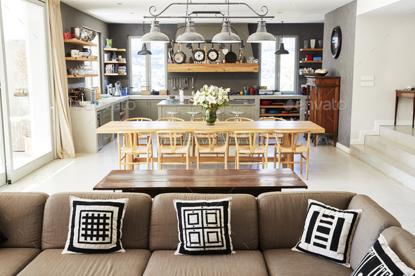 Home Interior With Open Plan Kitchen,Lounge And Dining Area - Stock Photo - Images