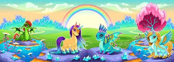 Landscape of Dreams with Rainbow and Fantasy Animals - Animals Characters