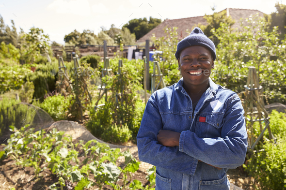 Portrait Of Gardener Standing In Community Allotment - Stock Photo - Images