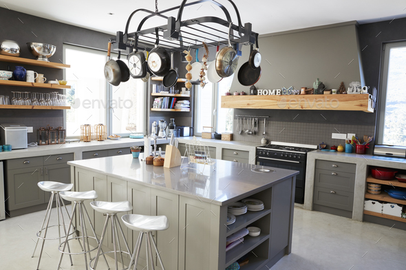 Kitchen Area Of Modern Home Interior With Island And Appliances - Stock Photo - Images
