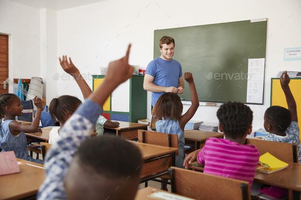 Kids raising hands to teacher in an elementary school class - Stock Photo - Images