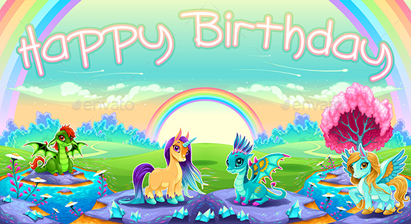 Happy Birthday card with Fantasy Animals - Birthdays Seasons/Holidays