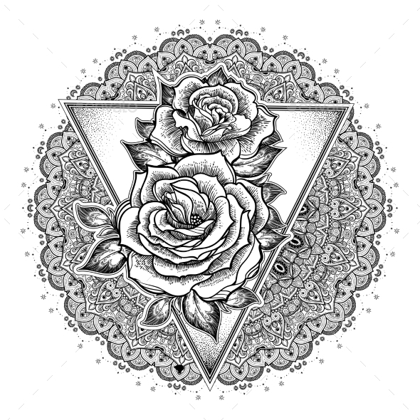 Roses Flower Mandala By PhoenixNeon