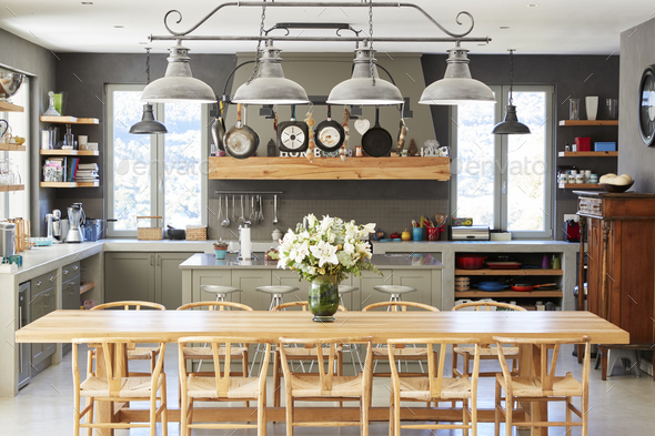 Home Interior With Open Plan Kitchen And Dining Area - Stock Photo - Images