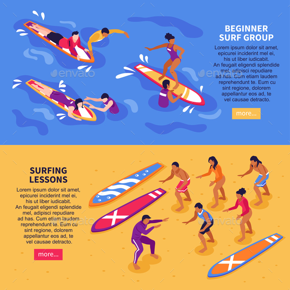 Surfing Lessons Horizontal Banners - Sports/Activity Conceptual