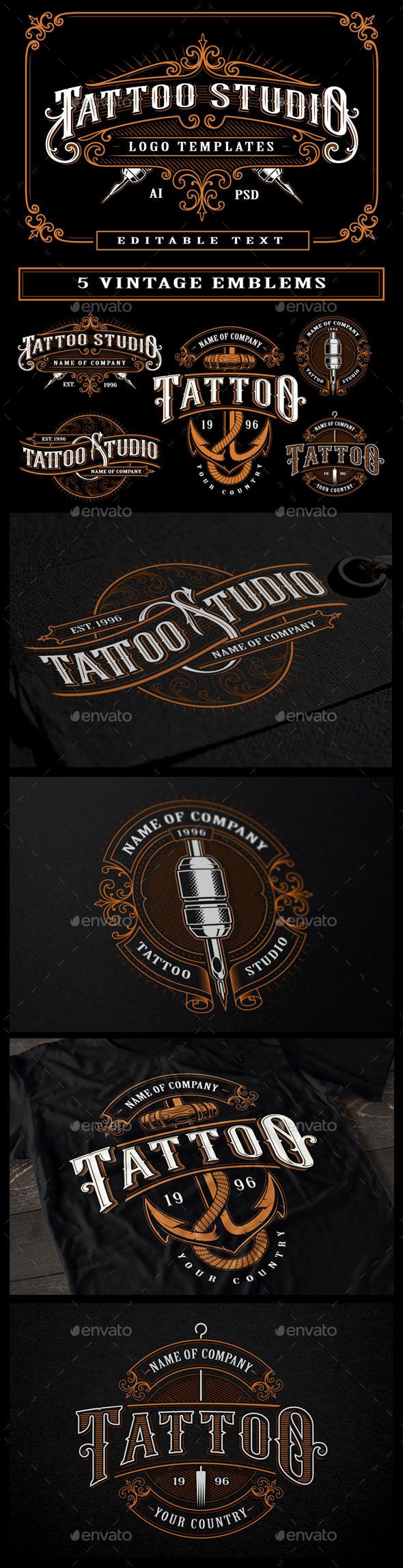 Set of Vintage Tattoo Studio Badges - Retro Technology