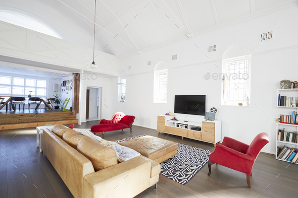 Home Interior With Open Plan Lounge And Dining Area - Stock Photo - Images