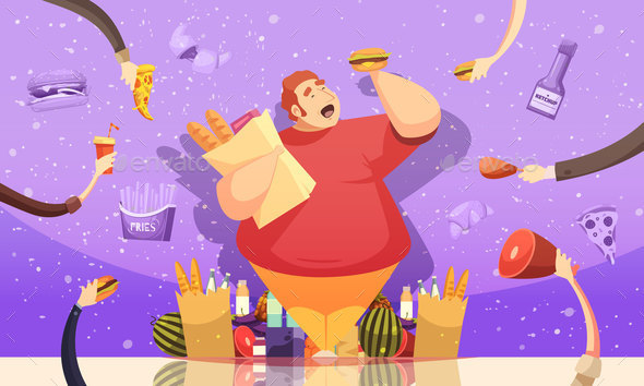 Gluttony Leading To Obesity Poster - Food Objects