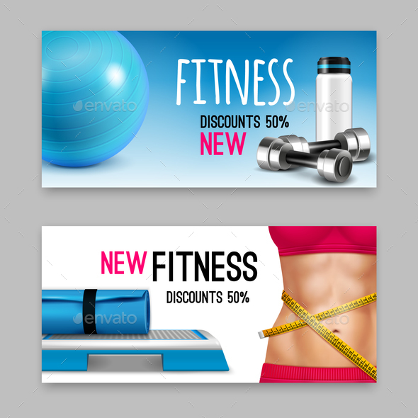 Fitness Accessories Realistic Banners Set - Sports/Activity Conceptual