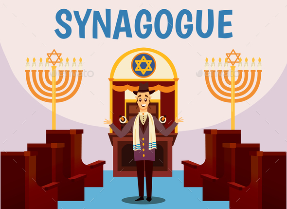 Jewish Synagogue Cartoon Background - Religion Conceptual