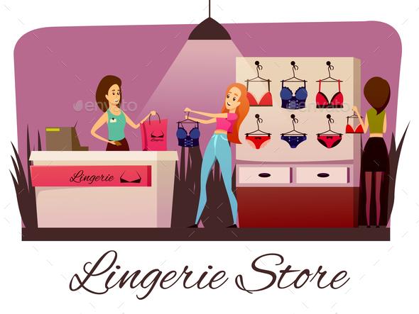 Lingerie Store Flat Composition - Miscellaneous Vectors