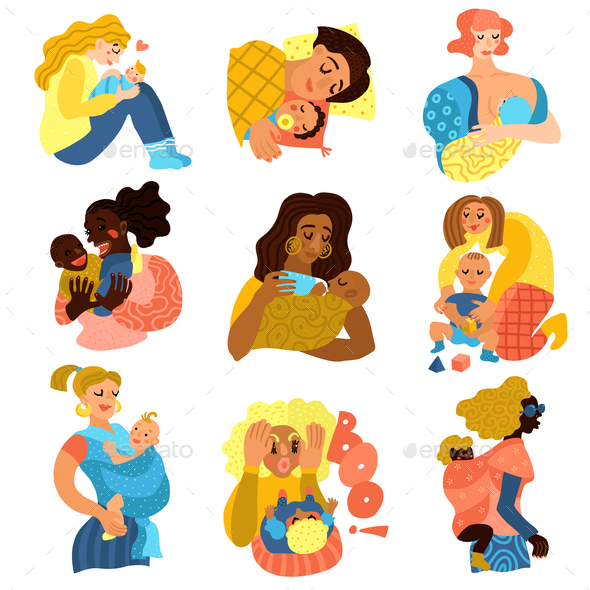 Motherhood Icons Set - Health/Medicine Conceptual