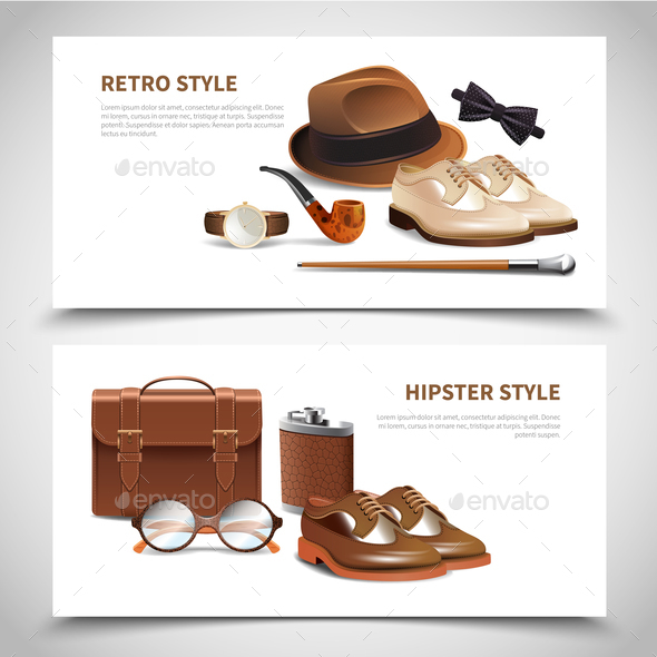 Gentleman Realistic Banners Set - Business Conceptual