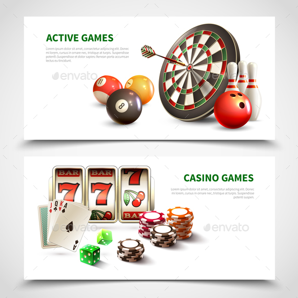Games Realistic Banner Set - Sports/Activity Conceptual