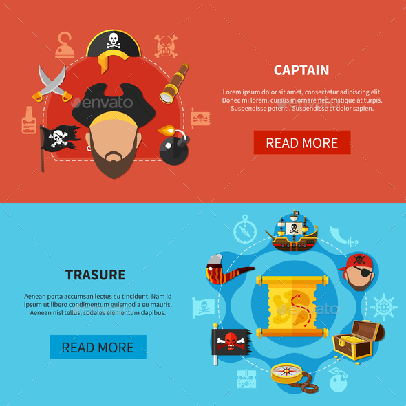 Pirate Treasure Cartoon Banners - Backgrounds Decorative