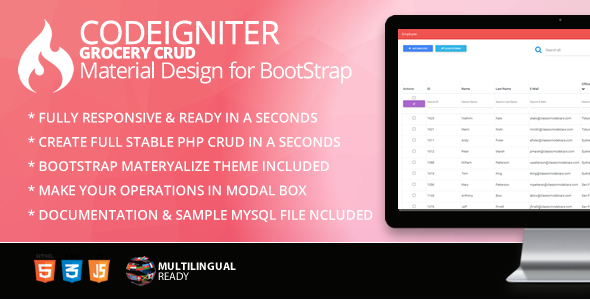Codeigniter Grocery CRUD Material Design for Bootstrap Theme - CodeCanyon Item for Sale