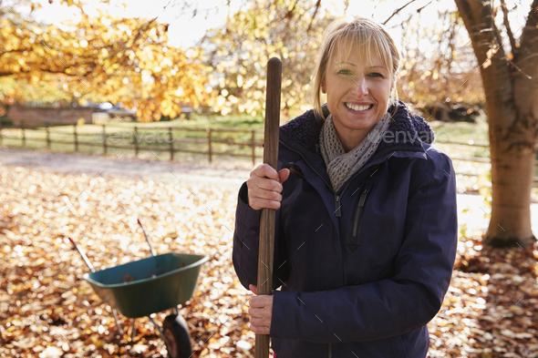 Portrait Of Mature Woman Raking Autumn Leaves In Garden - Stock Photo - Images