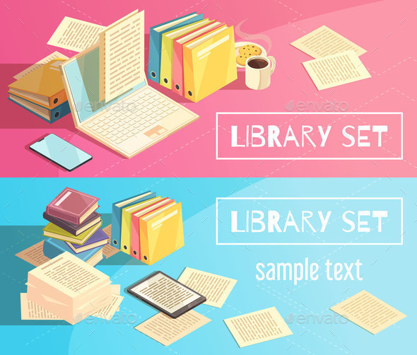 Library Set Isometric Banners - Miscellaneous Vectors