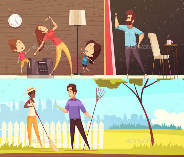 Neighbors Horizontal Banners - People Characters