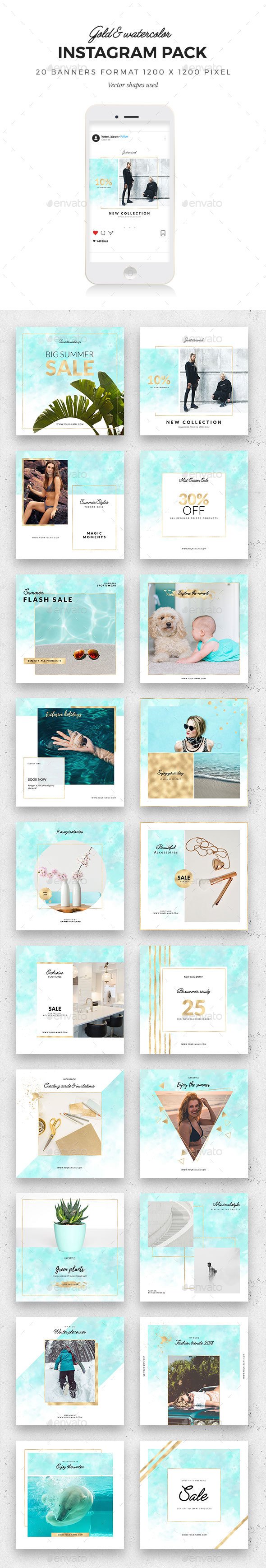 Gold & Watercolor Instagram Pack - Social Media Web Elements