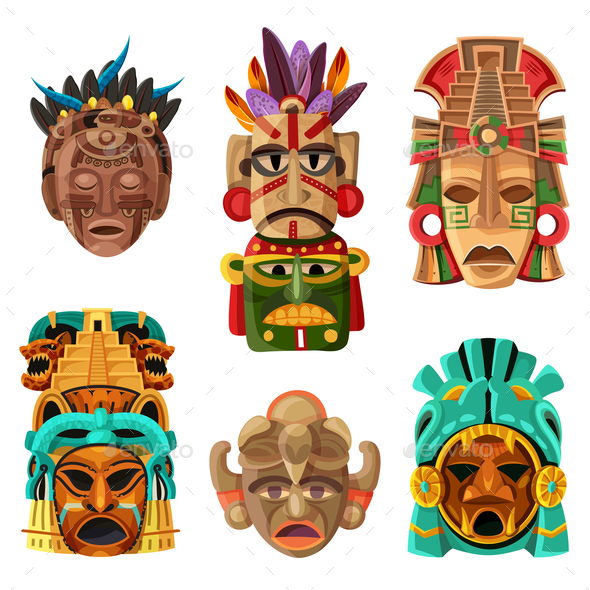 Mayan Mask Cartoon Set - Religion Conceptual