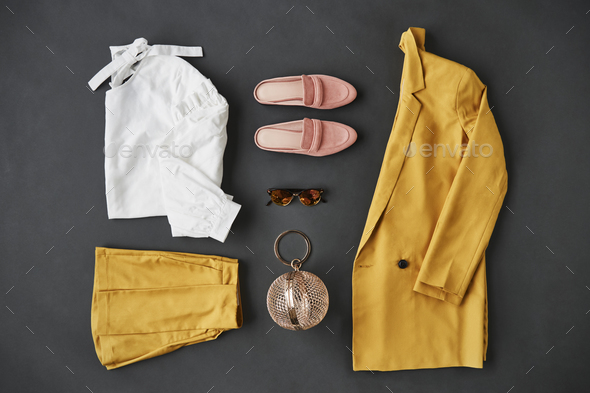 Flat Lay Shot Of Female Clothing And Accessories - Stock Photo - Images