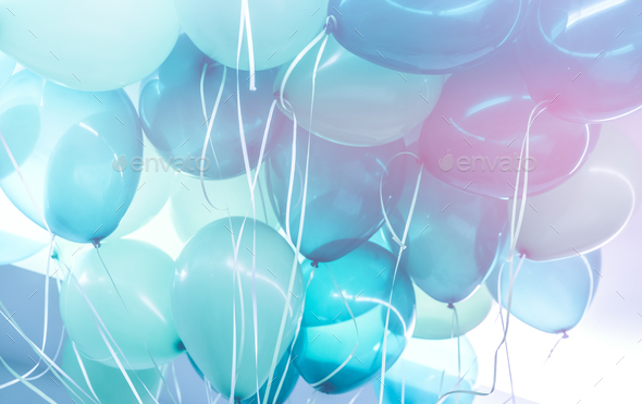 Blue balloons background - Stock Photo - Images