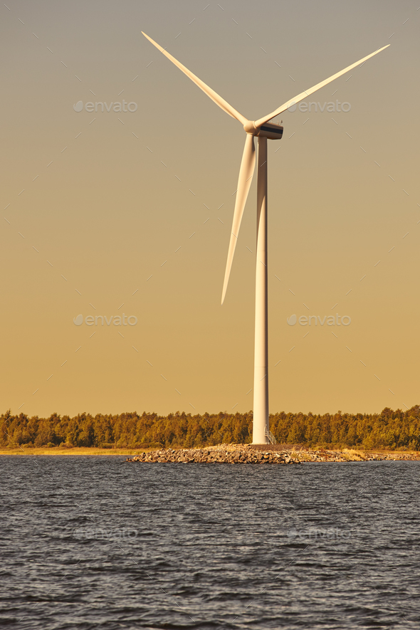 Wind turbine in the baltic sea. Renewable green energy. Finland  - Stock Photo - Images