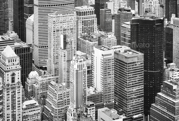 Aerial view of the Manhattan, New York City, USA. - Stock Photo - Images