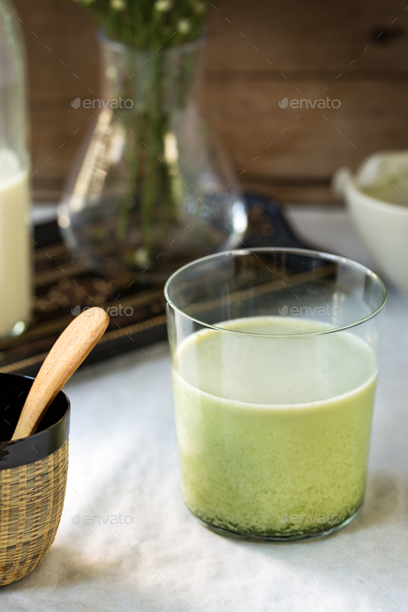 Matcha Soymilk - Stock Photo - Images