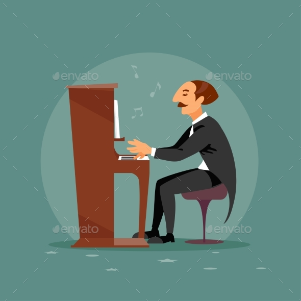 Male Pianist Vector - People Characters