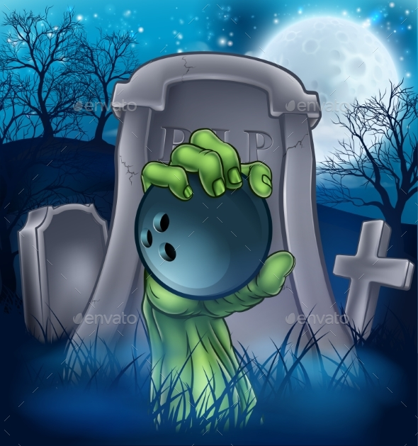 Bowling Zombie Halloween Graveyard Concept - Sports/Activity Conceptual