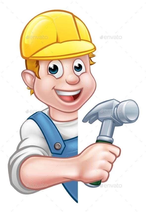 Carpenter Builder Cartoon Character - People Characters