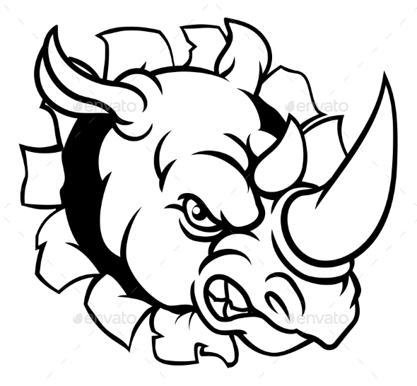 Rhino Angry Sports Mascot Breaking Background - Sports/Activity Conceptual