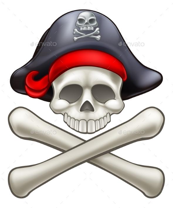 Pirate Hat Cartoon Skull and Crossbones - Miscellaneous Vectors