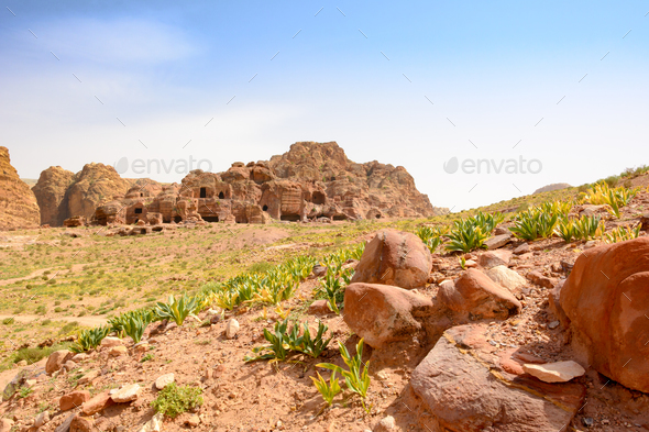 Cave dwellings in Petra - Stock Photo - Images