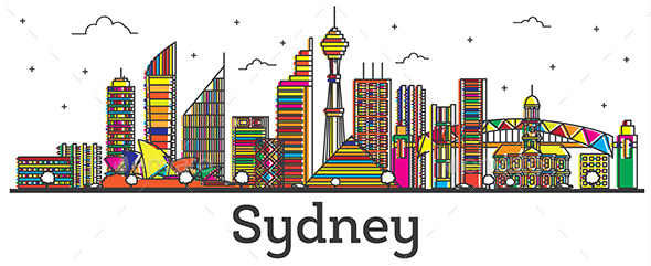 Outline Sydney Australia City Skyline with Color Buildings Isolated on White - Buildings Objects