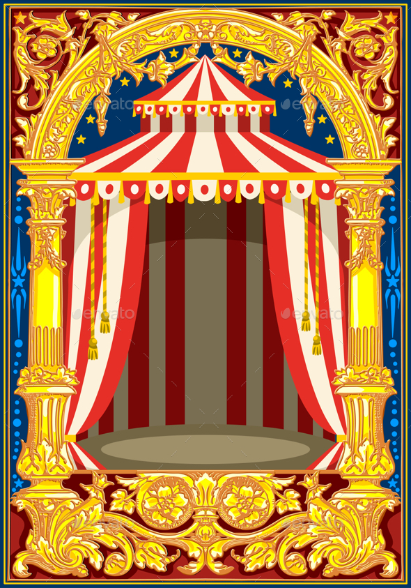 Carnival Circus Birthday Card - Backgrounds Decorative
