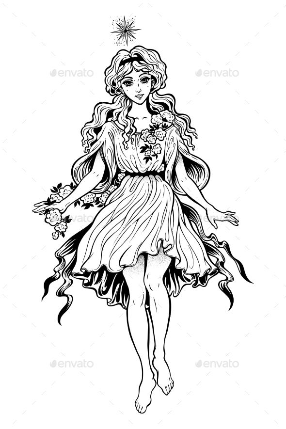 Girl As Vintage Magic Fairy or Elf . - People Characters