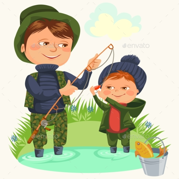 Father and Son Water Fishing Holding Rod - People Characters