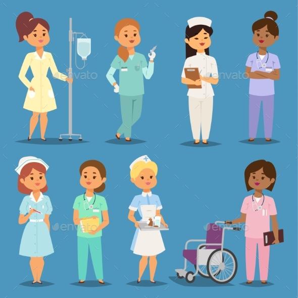 Cartoon Woman Doctors Nurses Vector Girl Meeting - People Characters