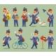Vector Postman Cartoon Man Character Courier